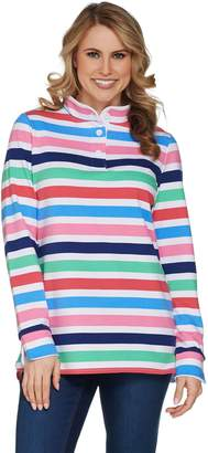 Denim & Co. Active Striped Long Sleeve Knit Pullover