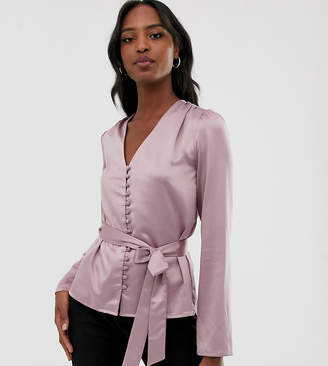 Fashion Union Tall satin button front blouse