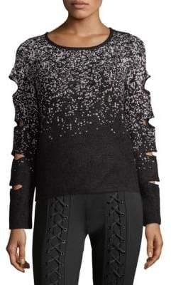 Scripted Sparkle Slash-Sleeve Sweater