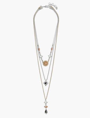 Lucky Brand SET STONE PAVE LAYER NECKLACE