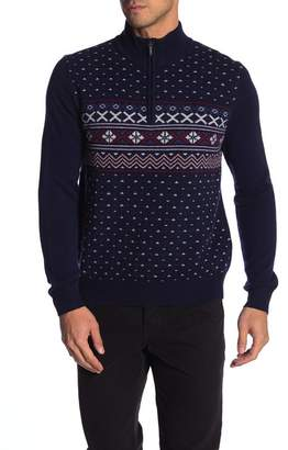 Brooks Brothers Holiday Fair Isle Half Zip Sweater