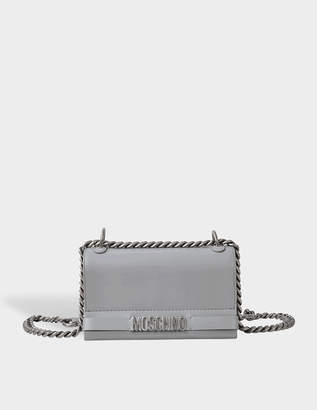 Moschino Lettering Nickel Logo Flap Crossbody
