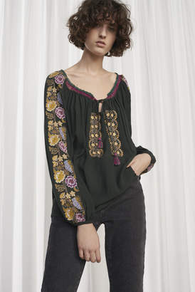 French Connection Elena Stitch Long Sleeved Smock Top