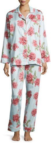 BedHeadBedhead Rose-Print Classic Pajama Set, Light Blue