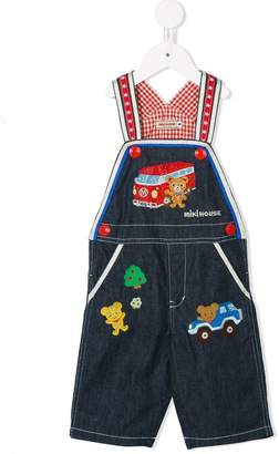 Mikihouse Miki House embroidered denim dungarees