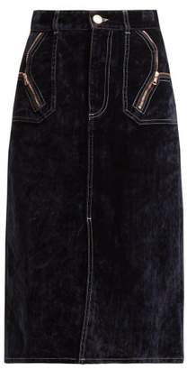 See by Chloe Velvet Midi Skirt - Womens - Navy