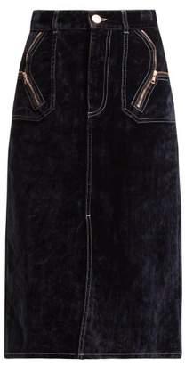 See by Chloe Velvet Midi Skirt - Womens - Navy