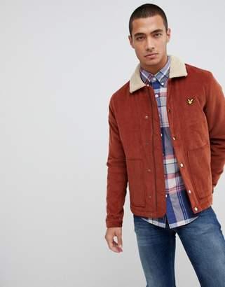 Lyle & Scott jumbo cord jacket with fleece collar in rust