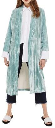 Women's Topshop Velvet Duster Coat $150 thestylecure.com