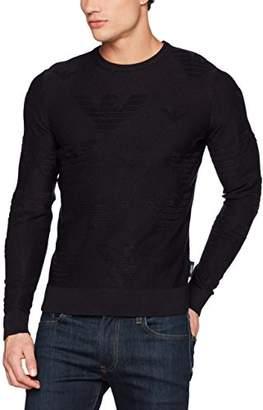 Armani Jeans Men's Subtle All Over Eagle Logo Pullover