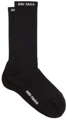 Ami Logo Intarsia Cotton Blend Socks - Mens - Black