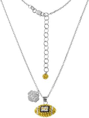 NCAA Kohl's Michigan Wolverines Sterling Silver Team Logo & Crystal Football Pendant Necklace