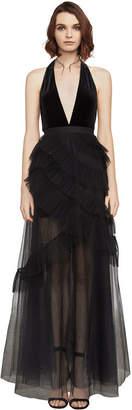 BCBGMAXAZRIA Angelene Velvet Halter Gown