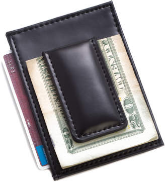 Bey-Berk Bey Berk Black Leather Magnetic Money Clip & Wallet