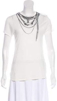 Haute Hippie Embellished Short Sleeve Top