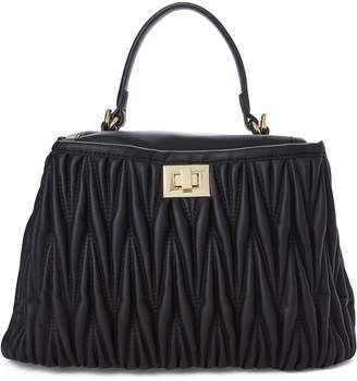 Urban Expressions Black Peggy Quilted Vegan Leather Satchel