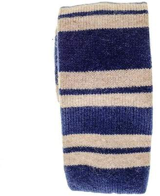 Black Blue and Biscuit Striped Knitted Cashmere Tie