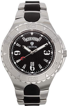 Croton Mens Black Two-Tone Stainless Steel Watch