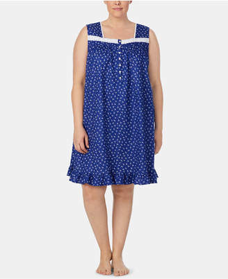 Eileen West Plus Size Eyelet-Trim Cotton Knit Nightgown