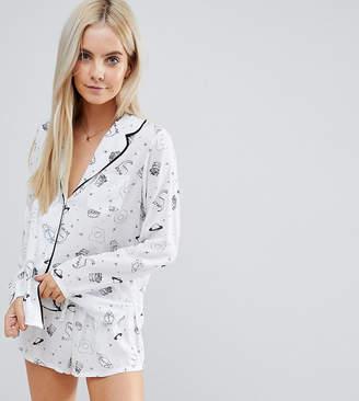 Asos Illustrated Conversational Short Pajama Set in 100% Modal
