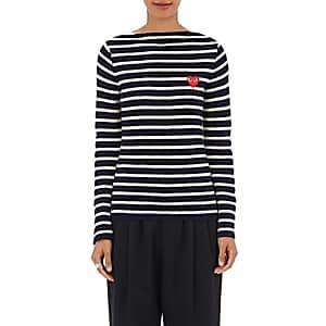 Comme des Garcons Women's Striped Wool Sweater - Navy, White