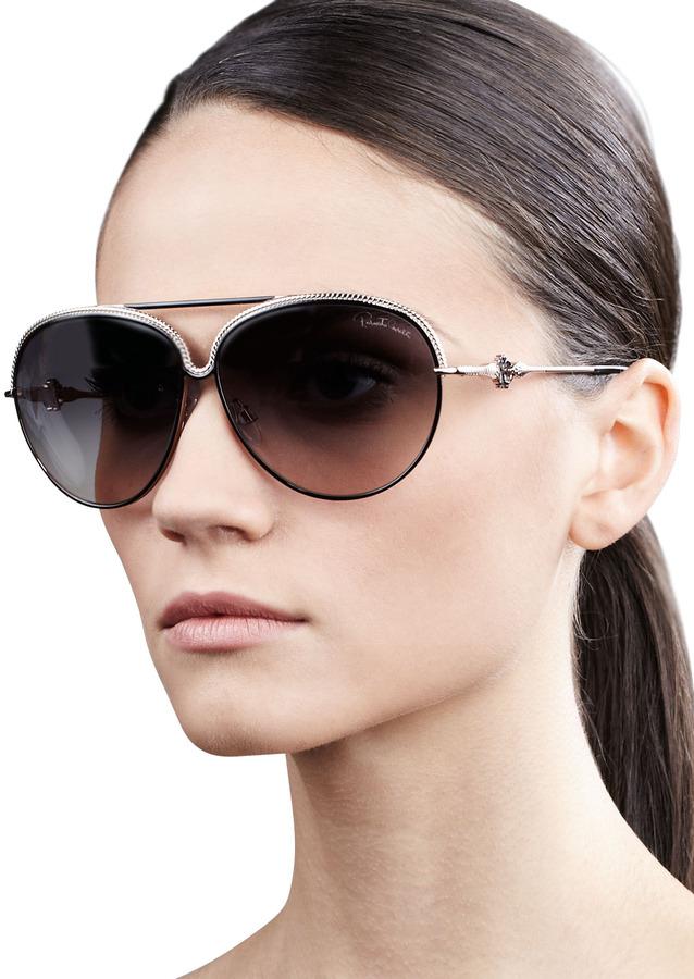 Roberto Cavalli Logo-Temple Aviator Sunglasses, Black