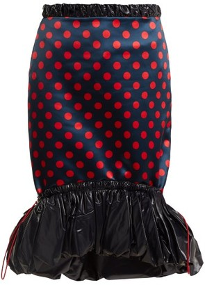 Mary Katrantzou Hazel Polka Dot Print Satin Skirt - Womens - Red Navy
