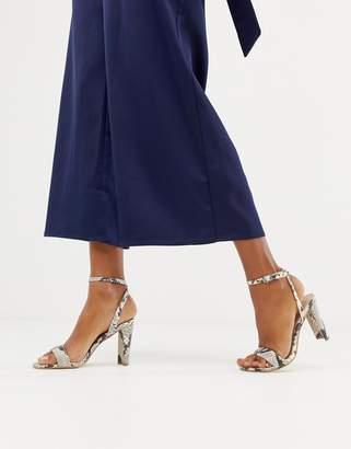 New Look heeled sandal in snake print