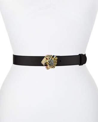 579016673 Gucci Animailer Tiger-Buckle Leather Belt