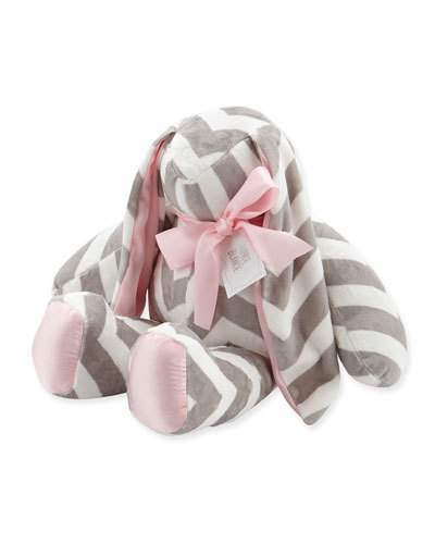 Swankie Blankie Large Plush Chevron Bunny, Slate/Pink