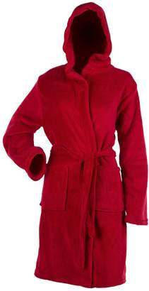 7a8af5558a Classic Home Store Ladies Soft Coral Fleece Hooded Bathrobe Plain Wrap  Around Dressing Gown