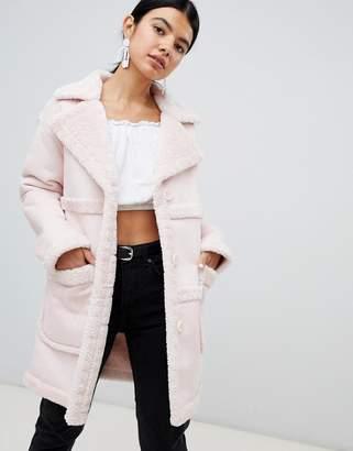 Miss Selfridge Exclusive Reversible fAUX Shearling Coat
