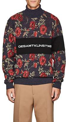 Oamc Men's Floral-Jacquard Cotton-Blend Sweater