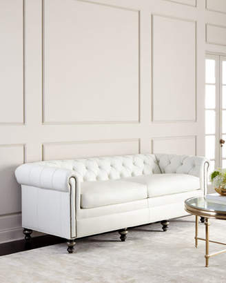 Old Hickory Tannery Whitestone Chesterfield Leather Sofa
