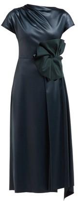 Osman Olesia Faux Leather Midi Dress - Womens - Dark Green