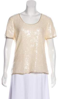 Magaschoni Short Sleeves Sequined Top