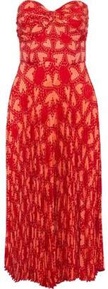Anna Sui Strapless Pleated Printed Silk-Blend Jacquard Dress