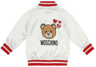 Moschino Kids Printed satin bomber jacket