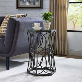 """Modway Circle 19.5"""" Side Table in Antique Gold"""