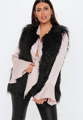 Missguided Curve Black Shaggy Mongolian Tank Top
