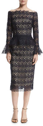 Monique Lhuillier Off-the-Shoulder Bell-Sleeve Guipure Lace Peplum Dress, Navy