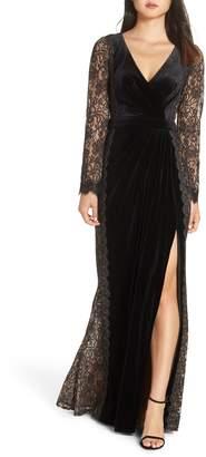 Tadashi Shoji Lace & Velvet Gown