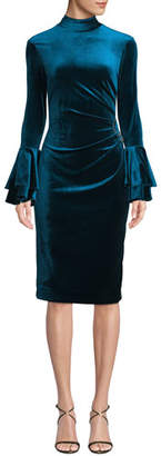 Rickie Freeman For Teri Jon Velvet Bell-Sleeve Ruched Dress