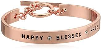 BCBGeneration BCBG Generation Rose Gold Crystal Happy Blessed Free Cuff Bracelet