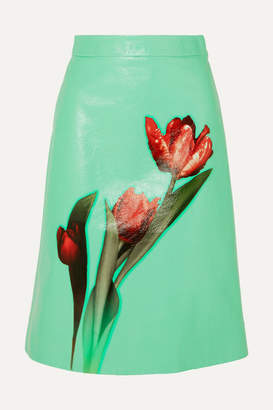 Prada Floral-print Leather Midi Skirt - Green