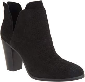Vince Camuto Perforated Suede Stacked Heel Booties - Farrier