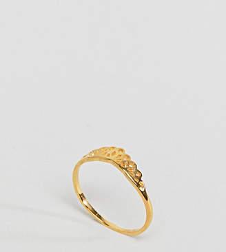 Asos DESIGN Curve Gold Plated Sterling Silver Filigree V Ring