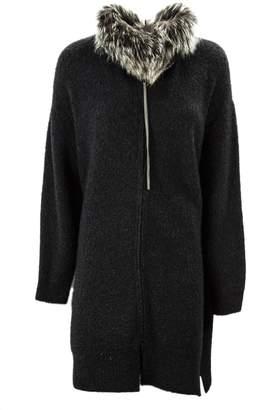 Fabiana Filippi Cardi-coat In Grey Merino Wool Blend.
