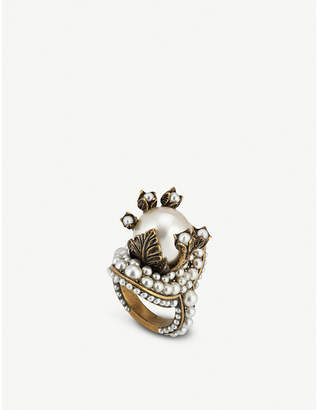 Gucci Glass bead-embellished metal ring