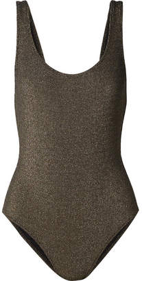 Solid & Striped The Anne-marie Ribbed Stretch-lurex Swimsuit